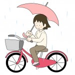 傘差し運転の自転車のイラスト